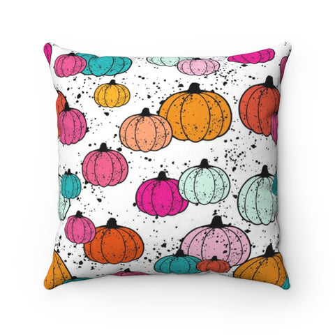 Colorful Splatter Painted Pumpkin Halloween Throw Pillow