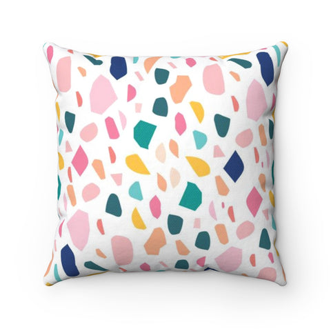 Colorful Terrazzo Rainbow Throw Pillow