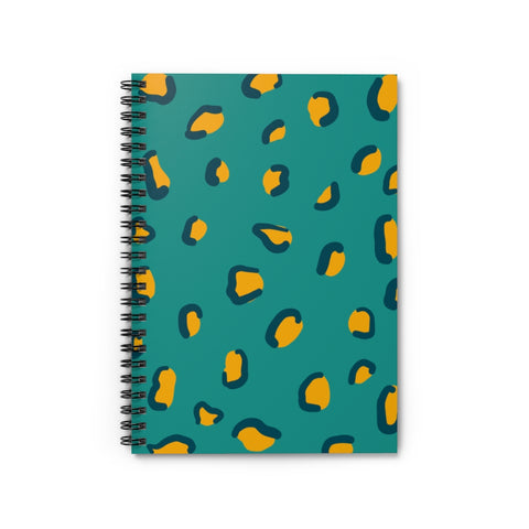 Teal and Mustard Leopard Print Notebook - Ruled Line