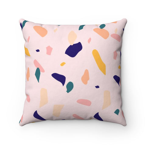 Muted Terrazzo Pattern Square Throw Pillow
