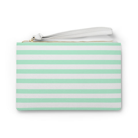 Mint Cabana Stripe Clutch Bag