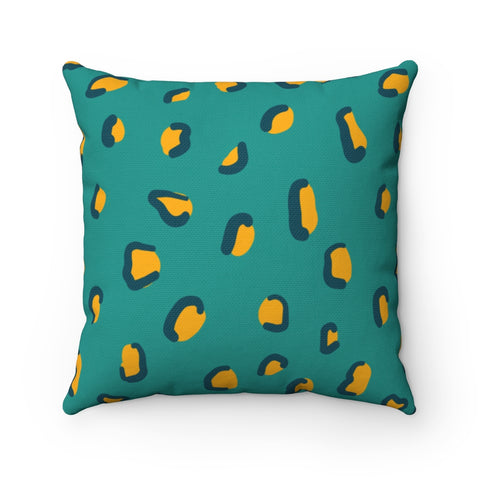 Teal and Mustard Yellow Leopard Spots Throw Pillow