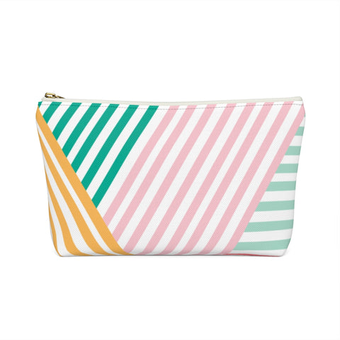 Rainbow Geometric Stripe Zipper Pouch