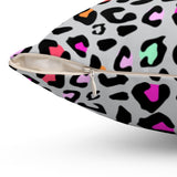 Neon Leopard Print Throw Pillow