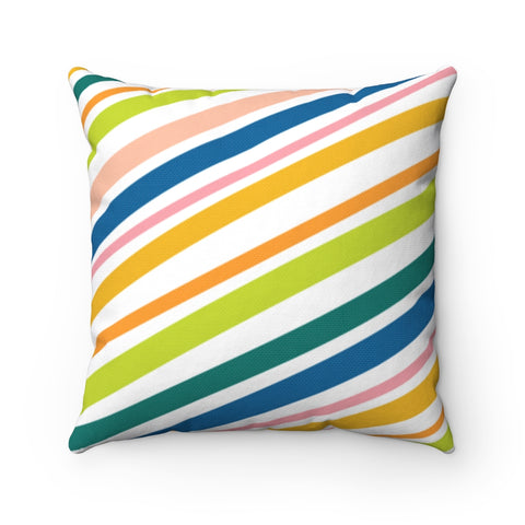 Organic Stripe Throw Pillow in Cool Tones