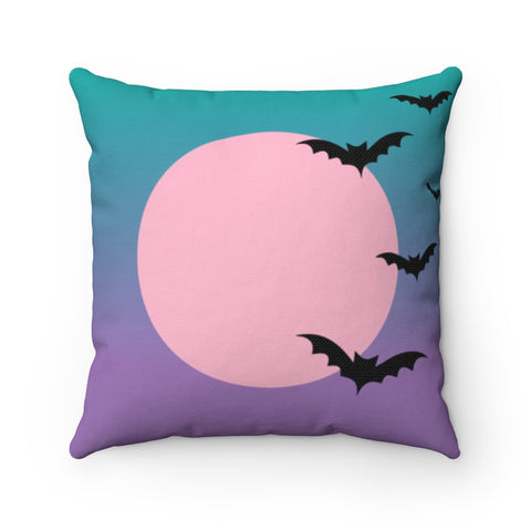 Turquoise Lavender Gradient moon and bats Halloween Throw Pillow