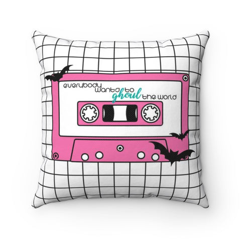 80's Inspired Cassette Tape Hallowen Throw Pillow