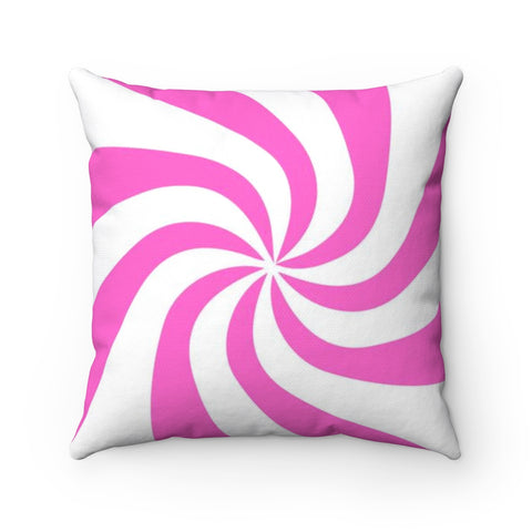 Pink Candy Swirl Holiday Throw Pillow