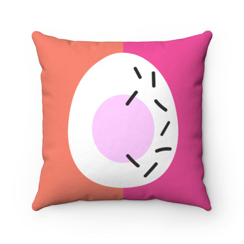 Memphis Easter Egg in Pink and Coral Throw Pillow