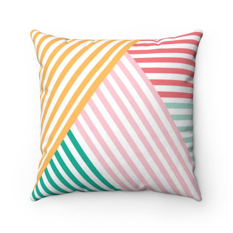 Colorful Geometric Rainbow Lines Square Throw Pillow
