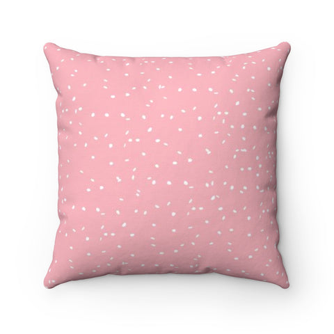 Pink Snowfall Holiday Throw Pillow