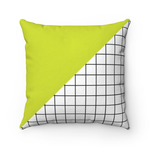 Citron Green And Black and White Grid Throw Pillow