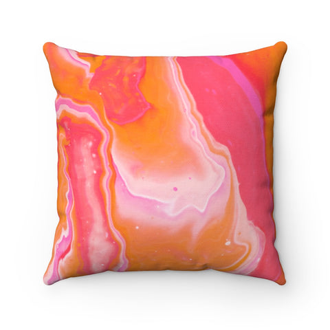 Orange and Pink Marble Polyester Square Pillow
