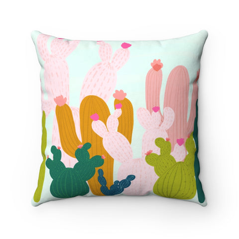 Colorful Cactus Throw Pillow