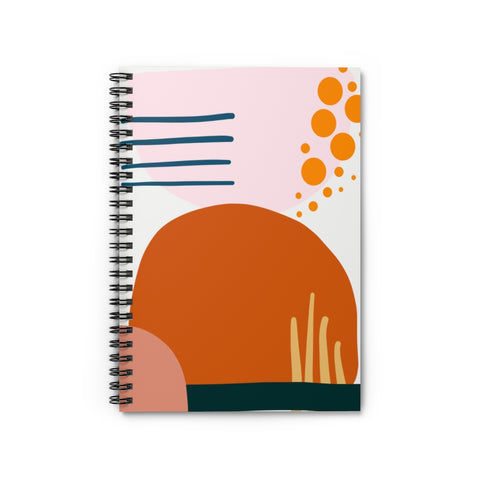 Blush and Rust Abstract Geometric Patterned Notebook - Ruled Line