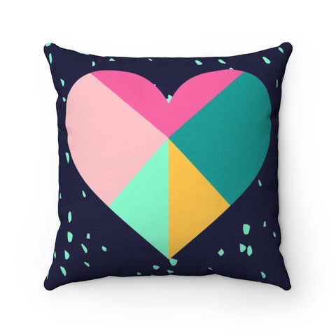 Large Geometric Heart Valentine's Throw Pillow