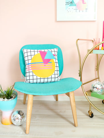 80's Themed Throw Pillow - Circle Grid