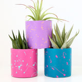 80s Splatter Painted Cement Planter