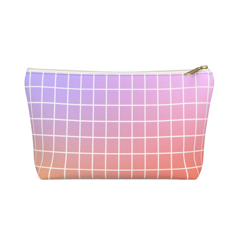 Purple and Orange Gradient Grid Zipper Pouch