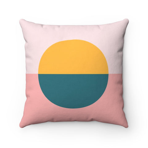 Color Blocked Circle Square Throw Pillow