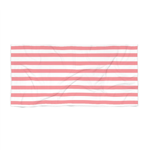 Coral Cabana Stripe Beach Towel