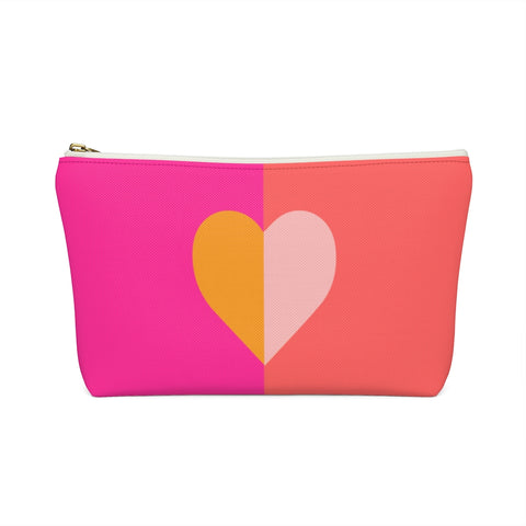 Color Blocked Heart Zipper Pouch