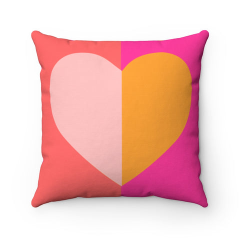 Color Blocked Heart - Square Pillow Case - No Insert