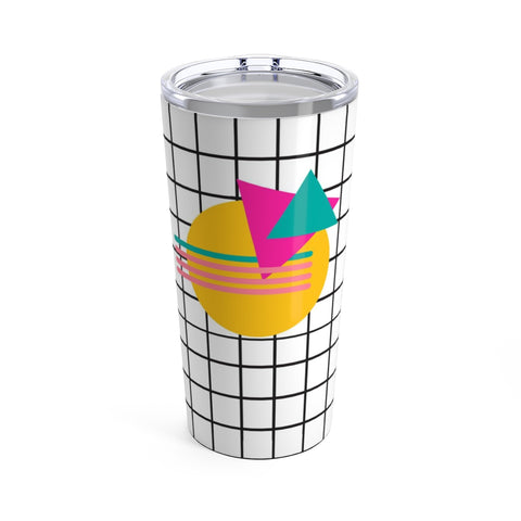 Memphis Sunset Print Stainless Steel Tumbler 20oz - 80's and 90's Mod