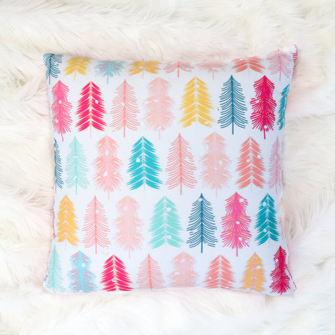 Christmas Throw Pillow - Bottle Brush Trees