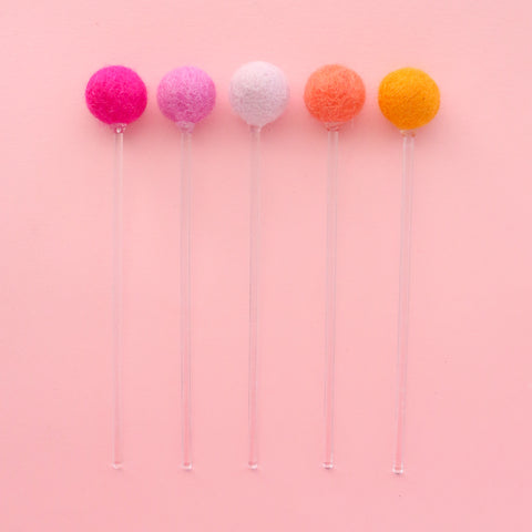 Felt Ball Drink Stirrers - Cocktail Stirrer Set