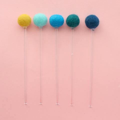 Blue Felt Ball Drink Stirrers - Cocktail Stirrer Set