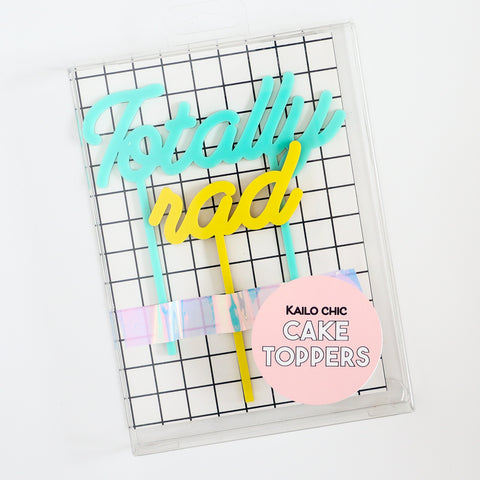 Totally Rad Acrylic Cake Topper