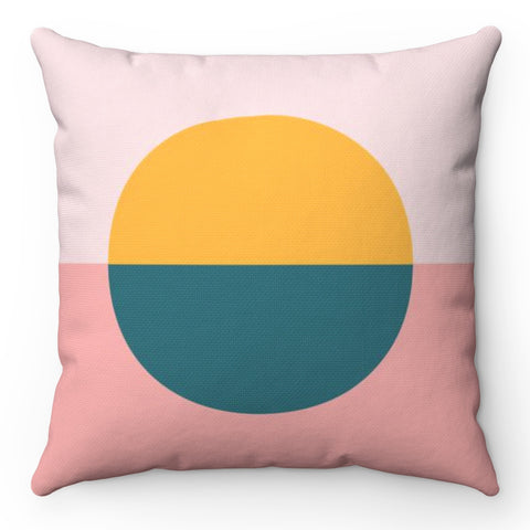 Color Blocked Circle Throw Pillow
