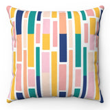Colorful Brick Pattern Square Throw Pillow