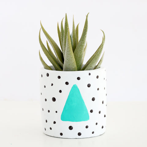 80's Style Cement Planter - Modern Geometric Dots