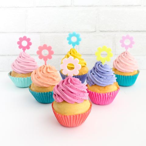 Flower Power Cupcake Toppers