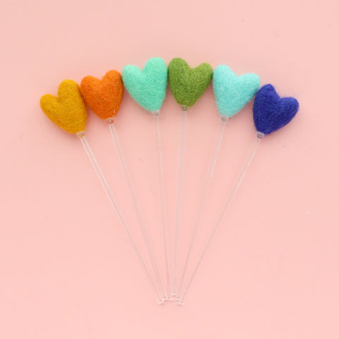 Cool Hearts Felt Ball Drink Stirrers - Cocktail Stirrer Set - Bar Cart Set Up