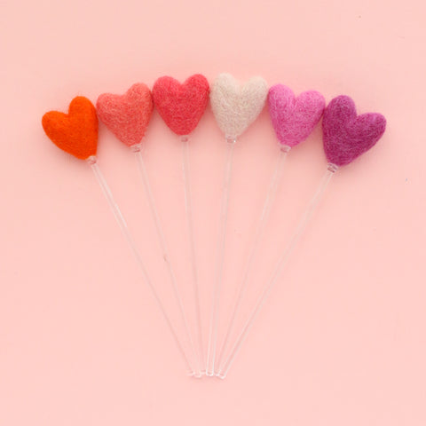 Pink Hearts Felt Ball Drink Stirrers - Cocktail Stirrer Set - Bar Cart Set Up