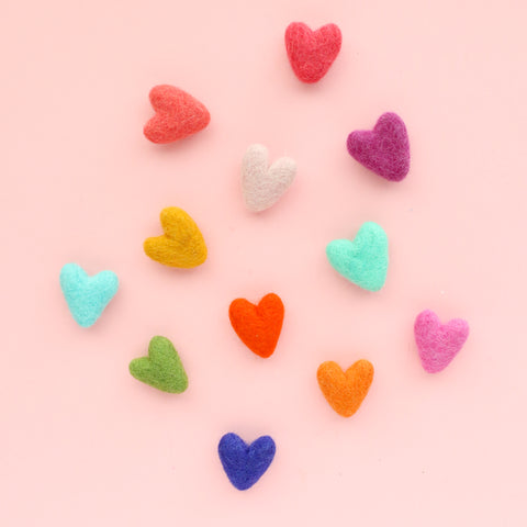 Rainbow Felt Heart Magnet Set