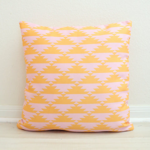 Pink and Yellow Aztec Throw Pillow