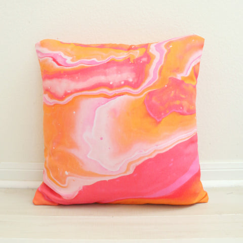 Orange and Pink Marble Throw Pillow