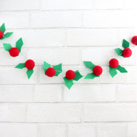 Felt Ball Holly and Berry Garland