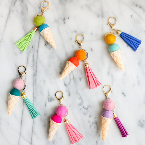 Ice Cream Tassel Keychain