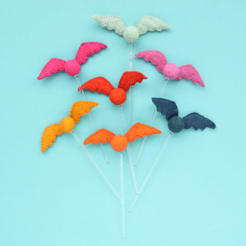 Felt Bat Drink Stirrers - Halloween Cocktail Stirrer Set