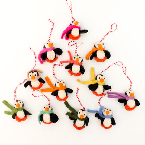 Felt Penguin Ornament Set