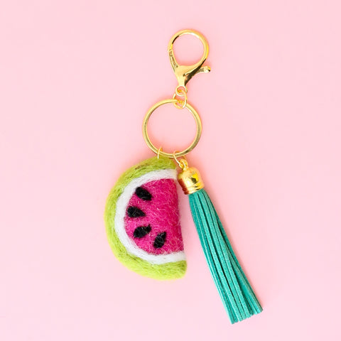 Felted Watermelon Tassel Keychain