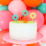 Flower Power Cake Topper - Pink or Blue Set