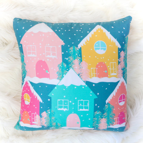 Christmas Throw Pillow - Colorful Gingerbread Houses