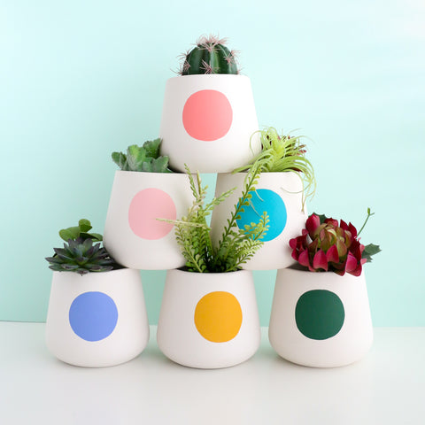 Large Modern Dot Cement Planter