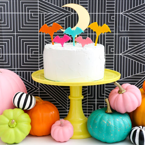 Bat and Moon Halloween Acrylic Cake Topper